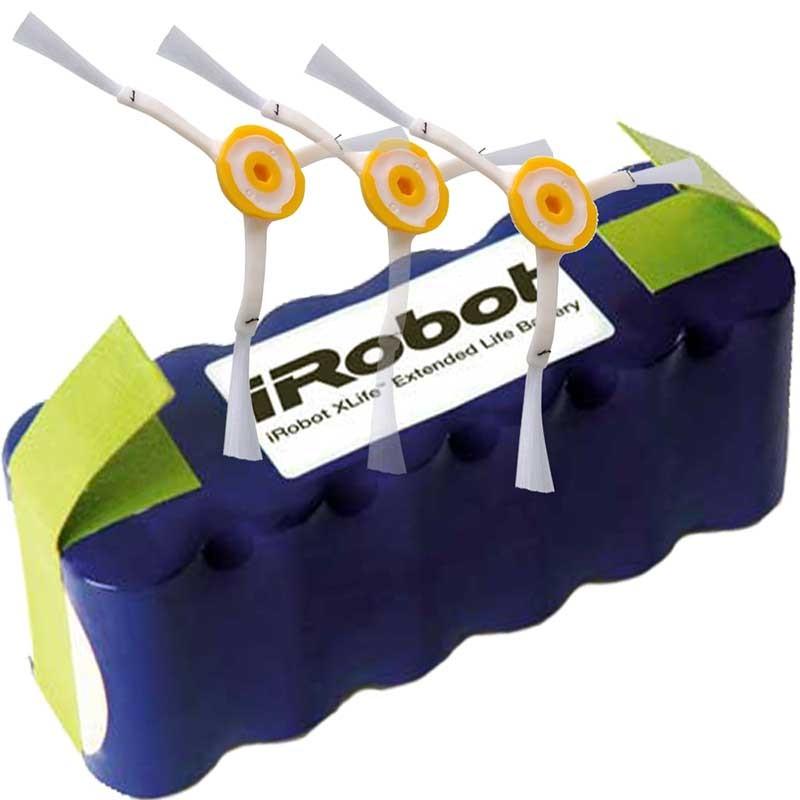 Pack batería original iRobot XLIFE + 3 cepillos laterales para ROOMBA