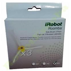 Paquete de 3 cepillos laterales originales para IROBOT ROOMBA series 5 a 9