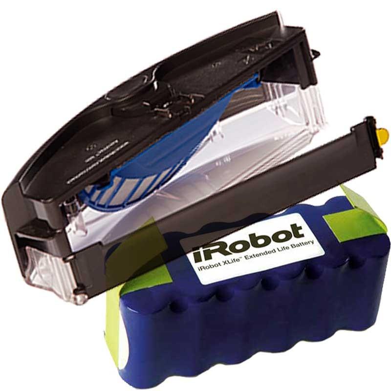 Pack batería IROBOT XLIFE + deposito AEROVAC para IROBOT ROOMBA series 500/600