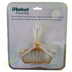 Kit de 3 filtros estándar + 3 cepillos laterales para IROBOT ROOMBA serie 500/600