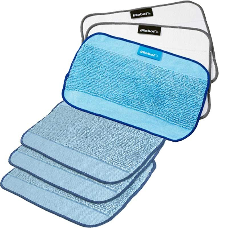 Pack de 3 mopas microfibra de fregado + 3 mopas mixtas de limpieza para IROBOT BRAAVA
